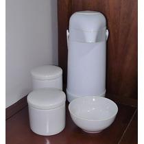 Garrafa Térmica Potes Molhadeira Kit Bebê Porcelana Infantil