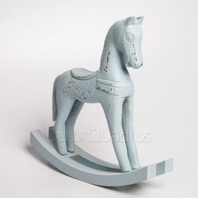 Cavalo De Balanço Madeira - Azul - Quarto Bebê E Criança