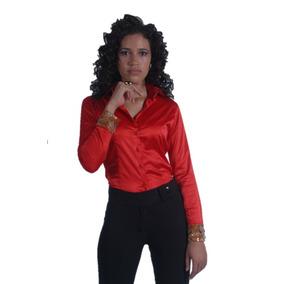 Camisa Feminina Cetim Vermelha
