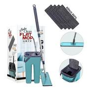 Esfregão Kit Mop Flat Vertical Lava Seca Multiuso +5 Refil