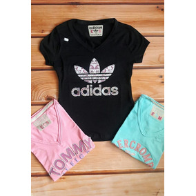 Camiseta Dama Blusa Hollister, adidas, Algodón Bordadas