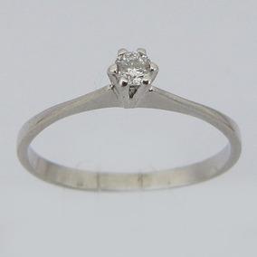 1468 Anel Solitário De Brilhante Com Diamante De Ouro Branco
