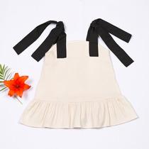 Vestido De Tirante Ancho Blanco/negro P/niña - Ivi Clothing