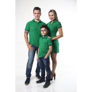 Pais E Filhos Kit 3 Pçs Camisa Ou Body Polo E Vestido Verde