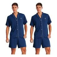 Kit 2 Pijama Plus Size Adulto Masculino Aberto Manga Curta