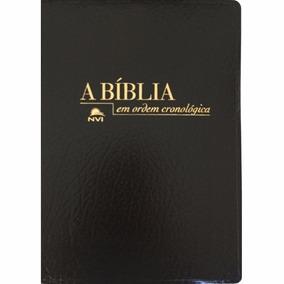Bíblia N.v.i. Em Ordem Cronológica Capa Preta De Luxo +frete