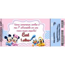50 Convite Ingresso Mickey Minnie Disney Baby Aniversário