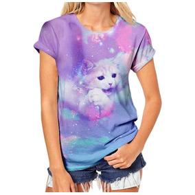 Camiseta Feminina Pastel Goth Menina Tumblr Gatinho Gato
