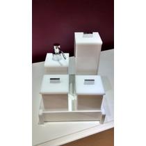 Kits Potes Branco Acrilico 5pç + Lixeira Quadrada Banheiro
