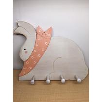 Perchero Para Llaves Madera En Forma De Conejo