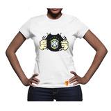 Brasil Camiseta Feminina Canarinho Seleçao Copa Do Mundo