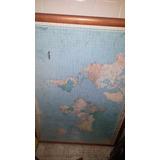 Mapa Mundial (rompecabeza) Montado En Cuadro Y Vidrio
