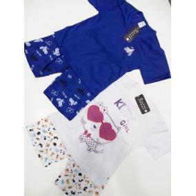 10 Pijamas Curto Inf. Masculino Ou Feminino Malha Estamp.
