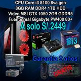 Cpu Gamer Core I3 8100 8gb Ram 1tb Hdd Gtx 1050