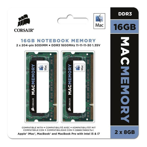 Memória RAM Mac Memory color Verde  16GB 2x8GB Corsair CMSA16GX3M2A1600C11