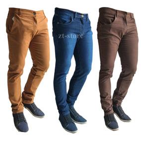 Kit C/ 3 Calça Jeans Sarja Masculina Skinny Lycra Colorida