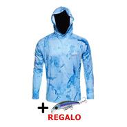 Remera Pesca King M. Larga + Capucha + Filtro Uv50 + Regalo