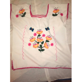 Blusa Blanca Bordada Con Flores Para Mujer
