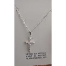 Cadena Y Dije De Cruz Angelito Cristo Medalla Plata Ley 925