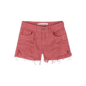 Shorts Feminino Em Jeans Com Destroyed Hering- 324hbr2 Bordo