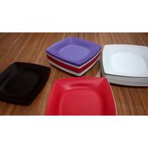 Kit 100 Pratos Plástico Quadrado Redondo Pequeno E Grandes