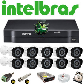 Kit Cftv Dvr 16 Ch Intelbras Mhdx 10 Câmeras Vm 1120 Hd 320g