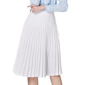 Saia Plissada Midi Crepe Godê Moda Evangélica Feminina