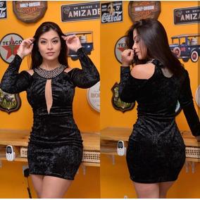 Vestido Pedraria Bordada Em Veludo Com Bojo E Tule Manga