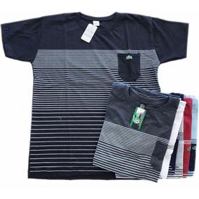 Camisa Listrada Lacoste Gola Redonda Com Bolso Kit 5 Atacado