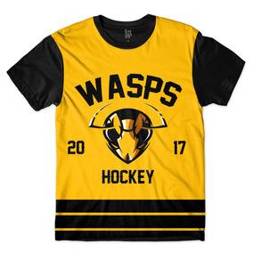 Camisa Camiseta Hockey Wasps Preto Amarelo Time Vespas Full. R  42 fef731a6517fa