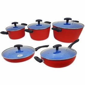 Batería De Cocina Tulum Roja 10+2 Pz Cerámica Azul - B8950