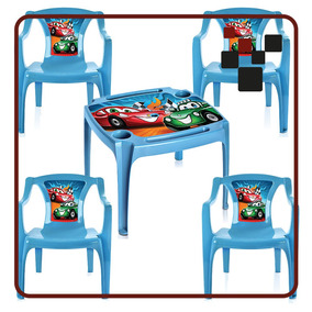 Mesa Mesinha Infantil Com 4 Cadeiras Carros Menino Azul