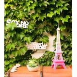Torre Eiffel De 42 Cm Color Fucsia Degrade Rosa-fibrofacil