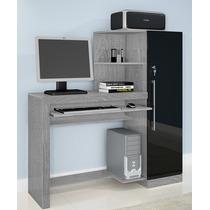 Escrivaninha Aro, Mesa Para Computador - Prata/preto