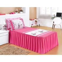 Kit Colcha C/ Babado Infantil Karina Meninas Linda 3 Pç Pink