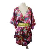 Kimono Ichiro Em Cetim De Seda Florzinhas Pronta Entrega G1