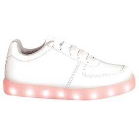 B & R Tenis Luces Led Luminosos Multicolor Blanco 18 A 21