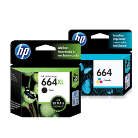 Kit 1 Cartuchos Hp 664xl Preto + 1 664 Color 3636 2136 2676