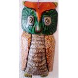 Artesanía Guatemalteca Maya Tallada En Madera Buho 40x30