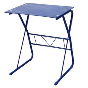 Mesa Escritorio Simple Vidrio Templado Azul