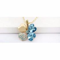 Collar Dije Trébol 4hojas Cristales Valentin Envio Gratis