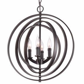 Lámpara Moderna Esfera Y Orbe Acabado En Bronce De Revel