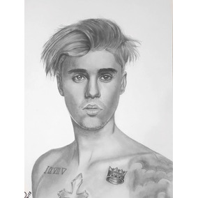 Desenho Realista Grafite Justin Bieber Folha A3