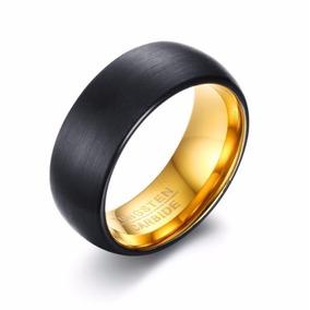 Par De Aliança De Tungstenio Preta Dourada Interno18k 8mm