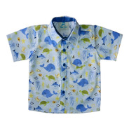 Camisa Social Infantil Manga Curta Fundo Do Mar