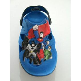 Babuche Sandalia Infantil Plugt Super Amigos Menino Azul
