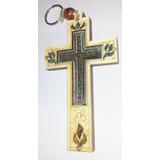 Cruz De Madeira Importado Terra Santa Com Pedras
