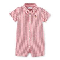 Roupas De Bebe Macacão Camisa Listrado Vermelho - Polo R L