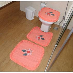 Jogo De Banheiro 3 Peças Bordado Patchwork Matelado