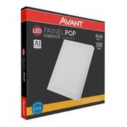 Painel Plafon Led Sobrepor 30w 40x40 Quadrado Branco Quente